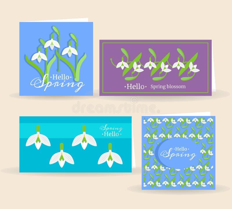 与snowdrops花的美丽的传染媒介卡片 免版税库存图片