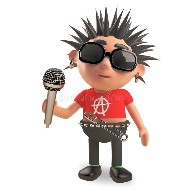与spikey头发的腐烂的庞克音乐的表演者唱歌入话筒,3d例证 向量例证