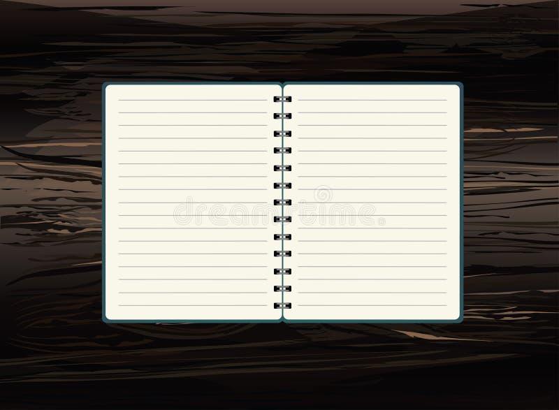与spira的现实被打开的笔记本模板 在木的传染媒介 库存例证