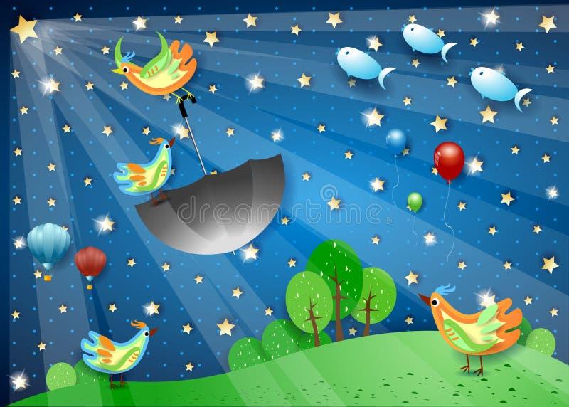 与spotligh、飞行的伞和鱼的超现实的夜 免版税库存图片