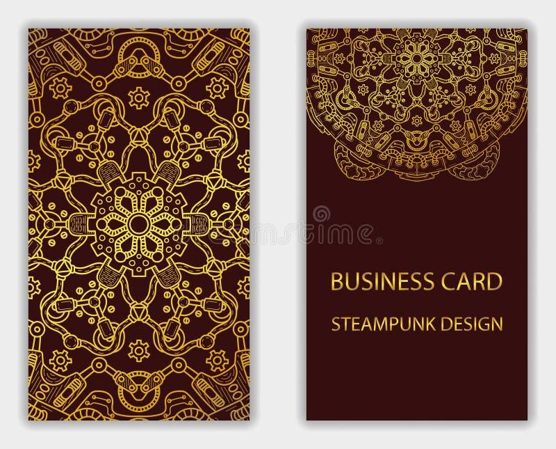 与steampunk设计元素的名片 皇族释放例证