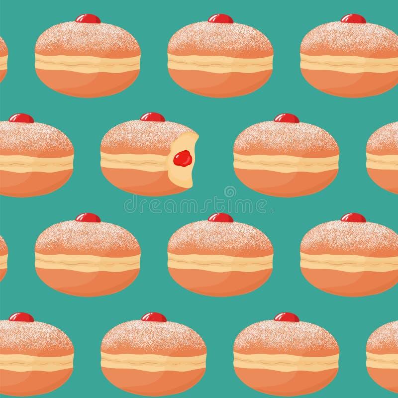 与sufganiyah果冻油炸圈饼的无缝的样式与糖粉顶部,与错过的叮咬和莓果果酱装填 传染媒介illustr 库存例证