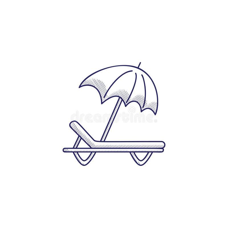 与sunbed和伞的Minimalistic手拉的象 孵化 向量例证