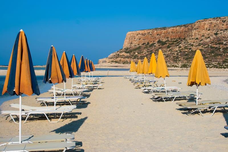 空的海滩在Balos盐水湖(Gramvousa)克利特的 免版税库存图片