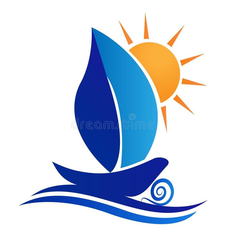 小船叶子和太阳创造性的商标设计 库存例证