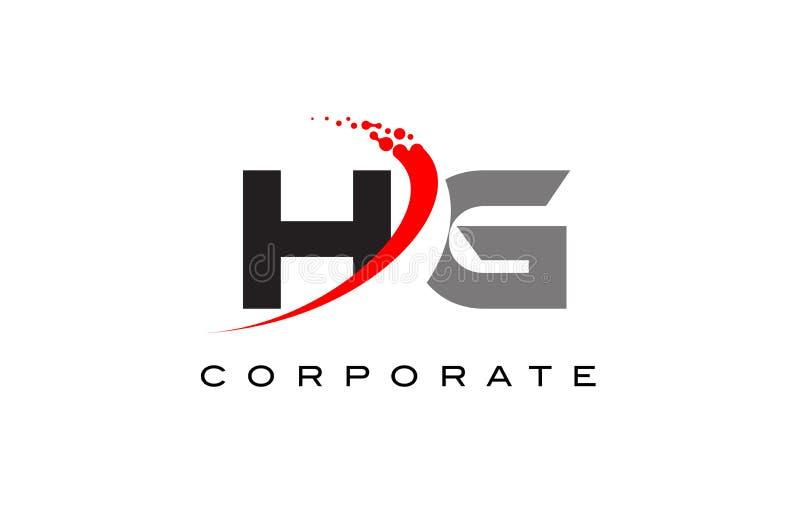 与Swoosh的HG现代信件商标设计 免版税库存照片