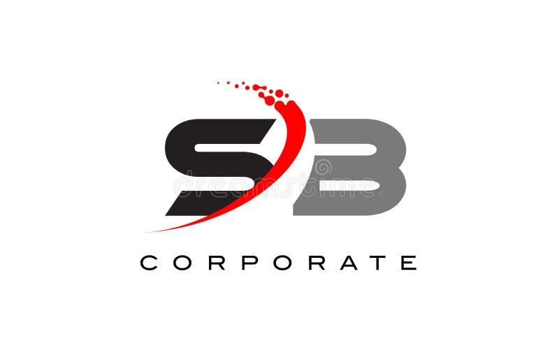 与Swoosh的SB现代信件商标设计 免版税图库摄影