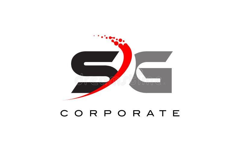与Swoosh的SG现代信件商标设计 库存图片
