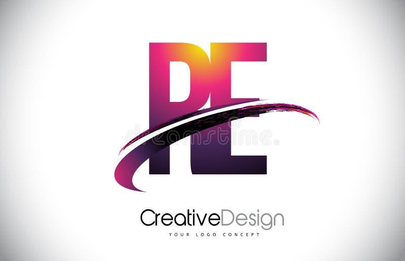 与Swoosh设计的再R E紫色信件商标 创造性的洋红色M 向量例证