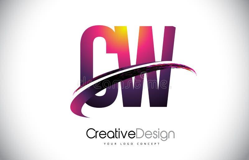 与Swoosh设计的CW C W紫色信件商标 创造性的洋红色M 皇族释放例证