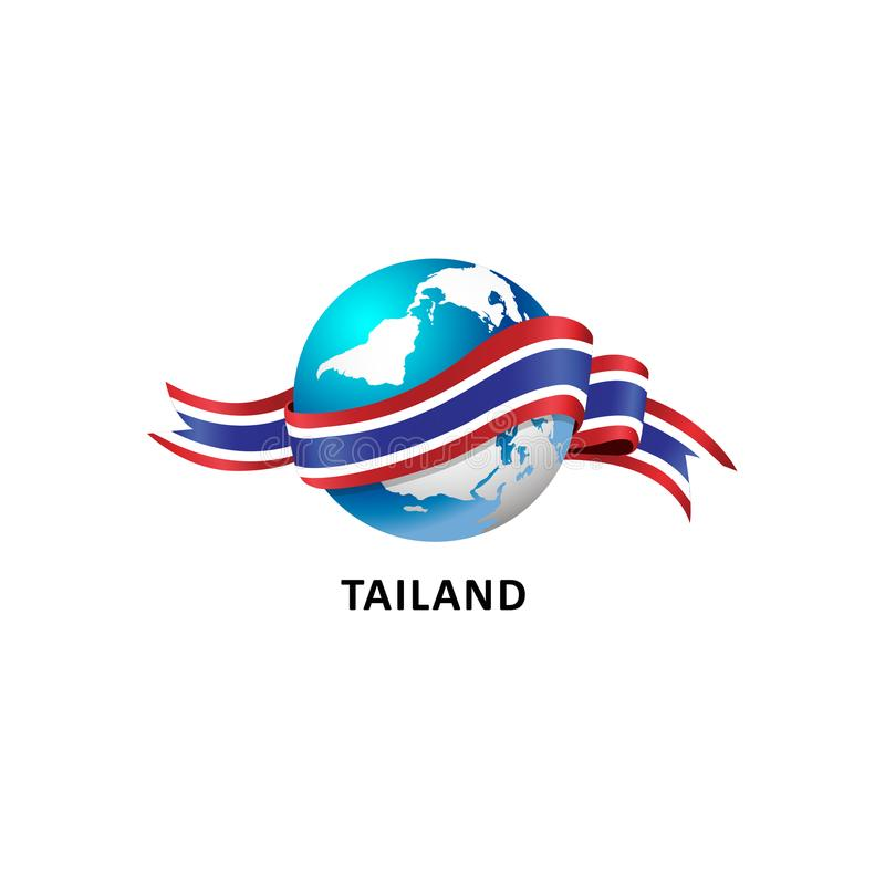 与tailand旗子的世界 免版税库存照片
