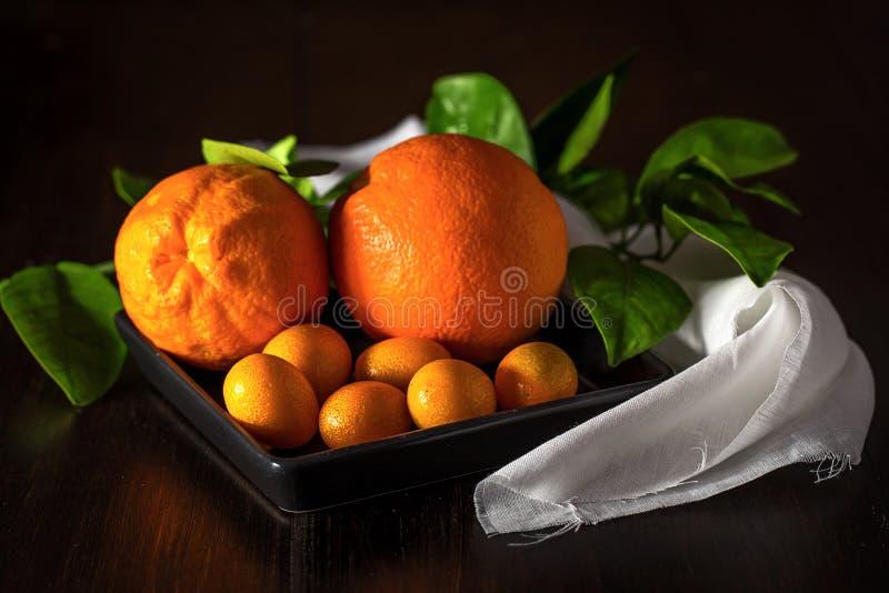 与tangerins的桔子在特写镜头 免版税图库摄影