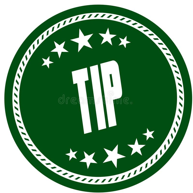 与TIP的绿色五星邮票 库存图片