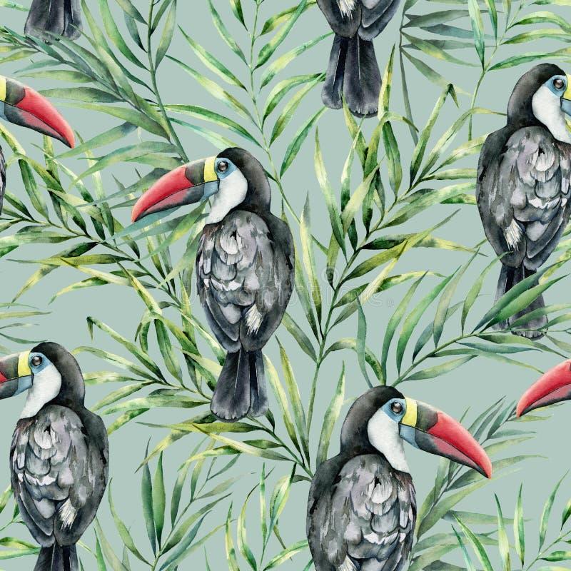与toucan和棕榈叶的水彩无缝的样式 与在柔和的淡色彩隔绝的热带鸟的手画例证 库存例证