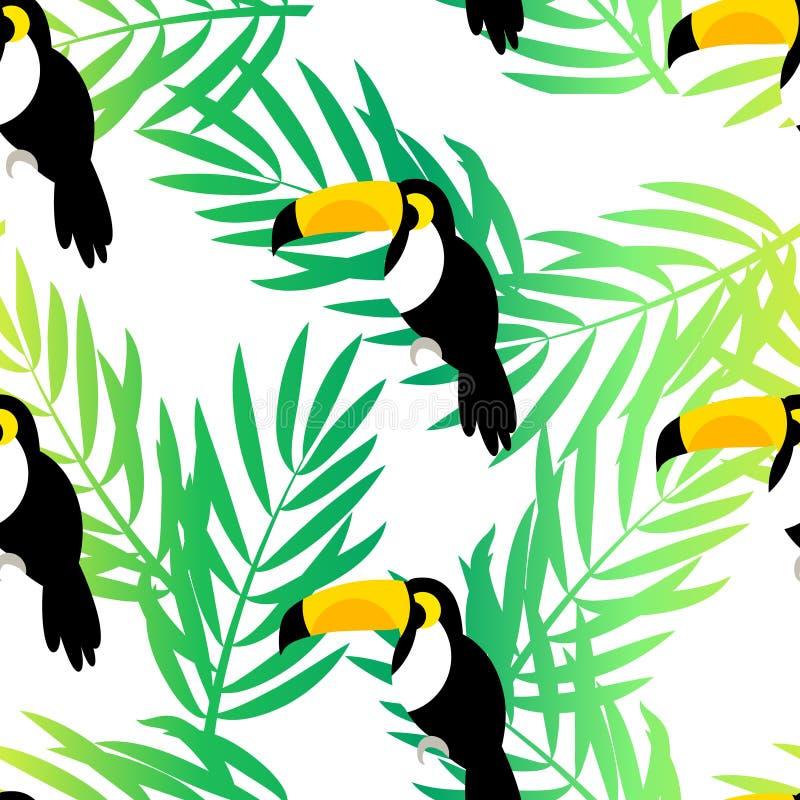 与toucan和棕榈的无缝的样式在白色背景分支 向量夏天背景 皇族释放例证