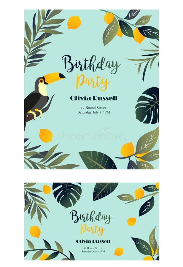 与toucan的热带夏威夷海报 党模板 邀请,横幅,卡片 向量例证