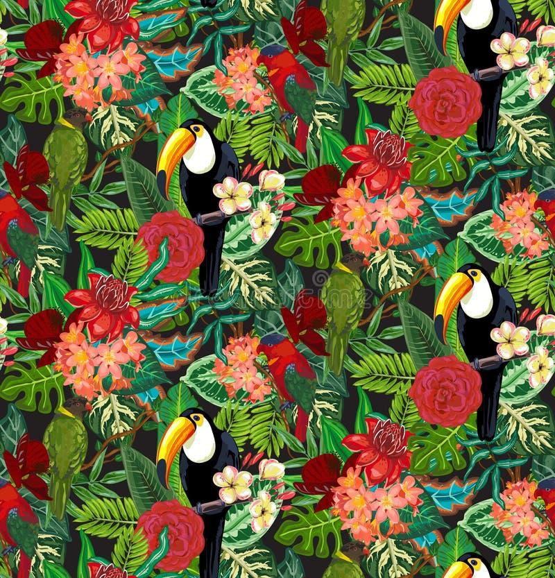 与toucan的热带海鸟,鹦鹉与异乎寻常的花和棕榈叶的无缝的传染媒介样式 向量例证