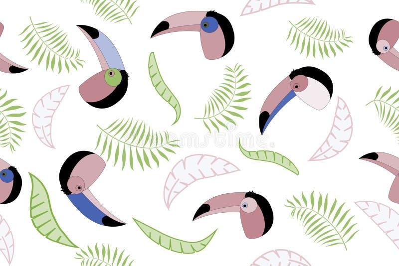 与toucans和热带叶子的无缝的传染媒介样式 笔记薄的盖子模板 向量例证