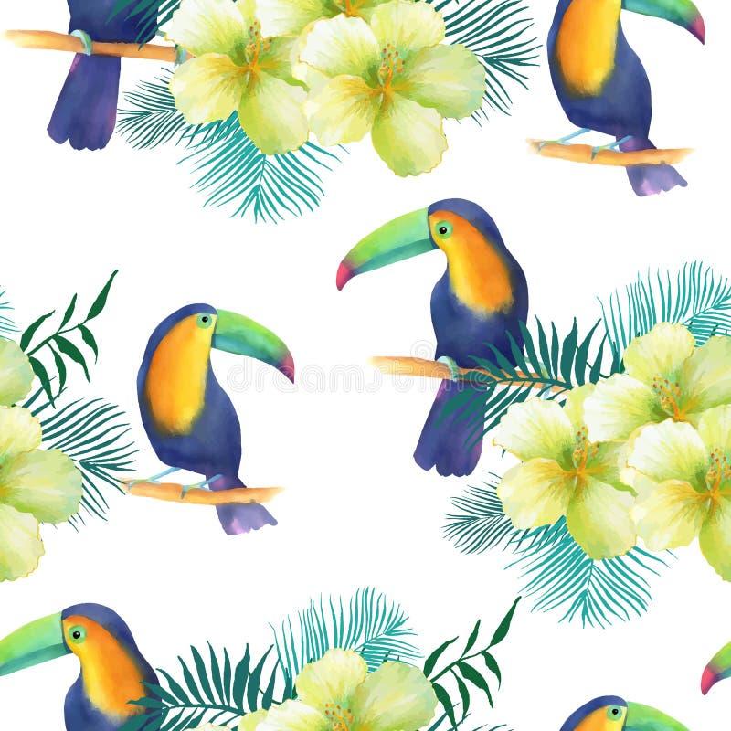 与toucans的水彩无缝的样式 向量例证