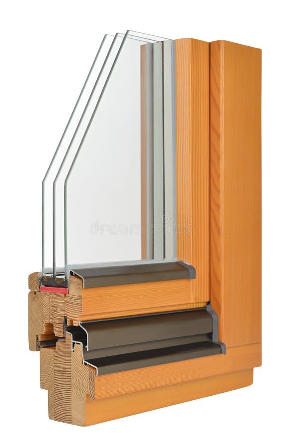 与tripple给上釉的木窗口外形 免版税库存图片