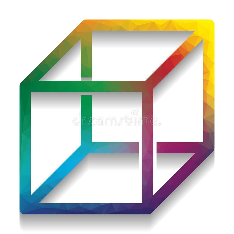 与visisble肋骨的架线的立方体标志 向量 与b的五颜六色的象 向量例证