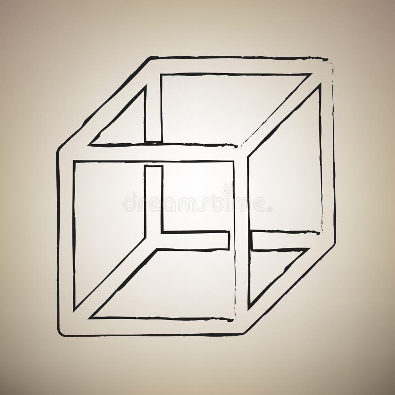 与visisble肋骨的架线的立方体标志 向量 刷子drawed黑色我 皇族释放例证