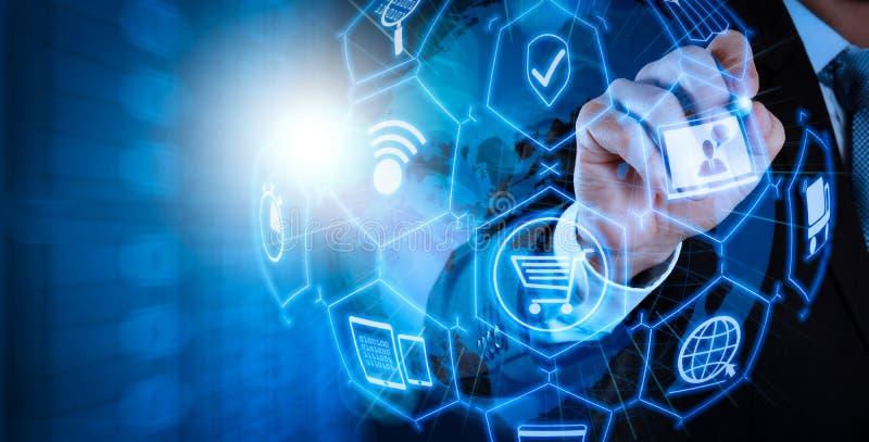 与VR数字接口的电子商务概念与shopp象  库存例证