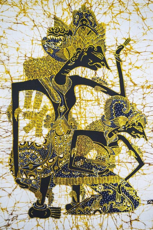 与Wayang样式的美好的蜡染布 库存照片