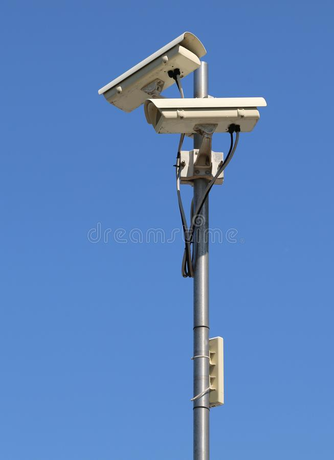 与wifi中继器的闭路的照相机tvcc 库存照片