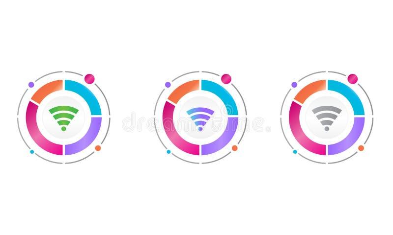 与wifi象的圈子图 E 向量例证