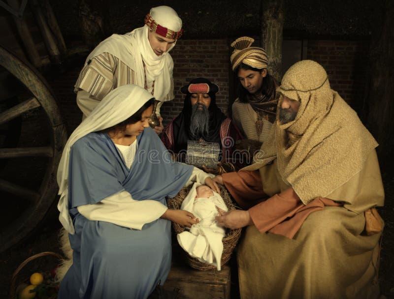 与wisemen的圣诞节场面 免版税图库摄影