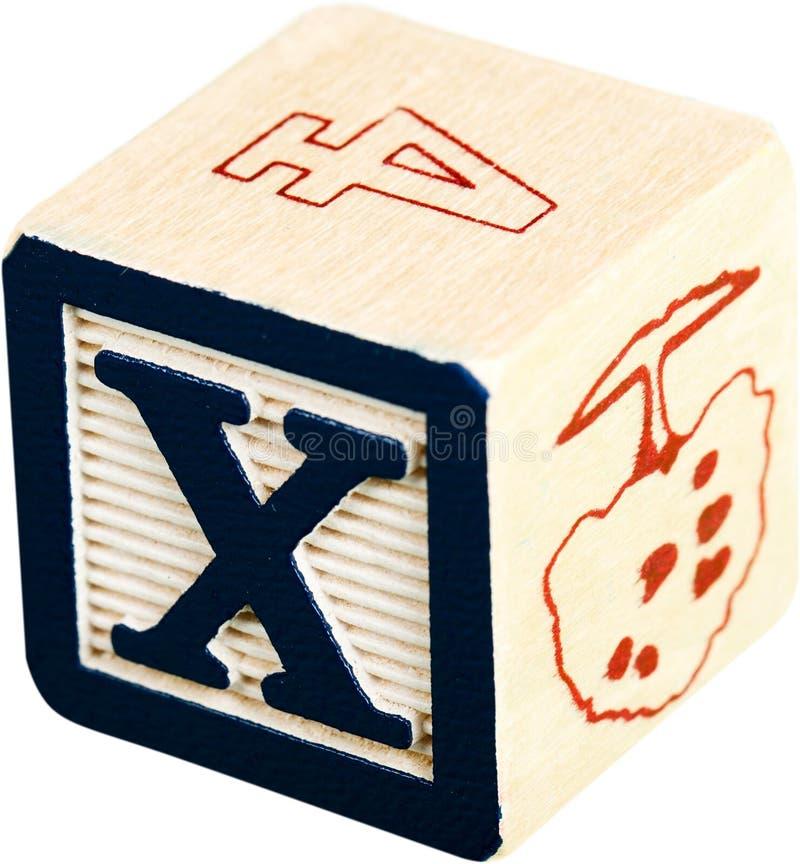与x的木信件块-被隔绝的信件 免版税库存照片