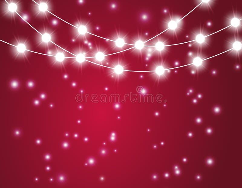 与xmas光的圣诞节背景 导航在红色背景的发光的诗歌选与亮光微粒 皇族释放例证