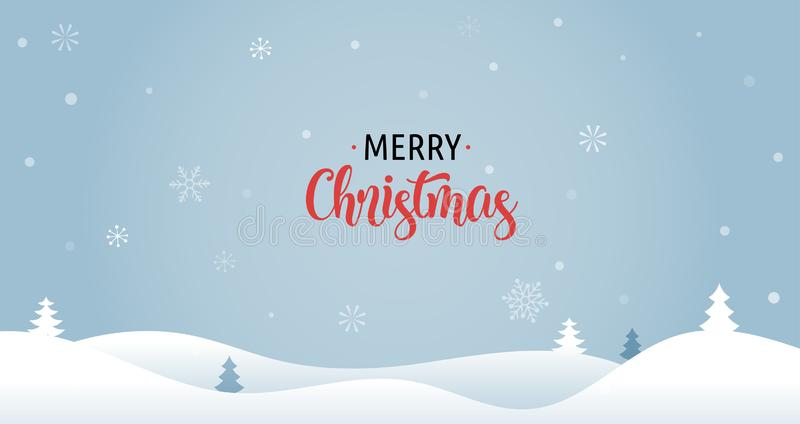 与Xmas树、贺卡、海报和横幅的圣诞快乐背景 皇族释放例证