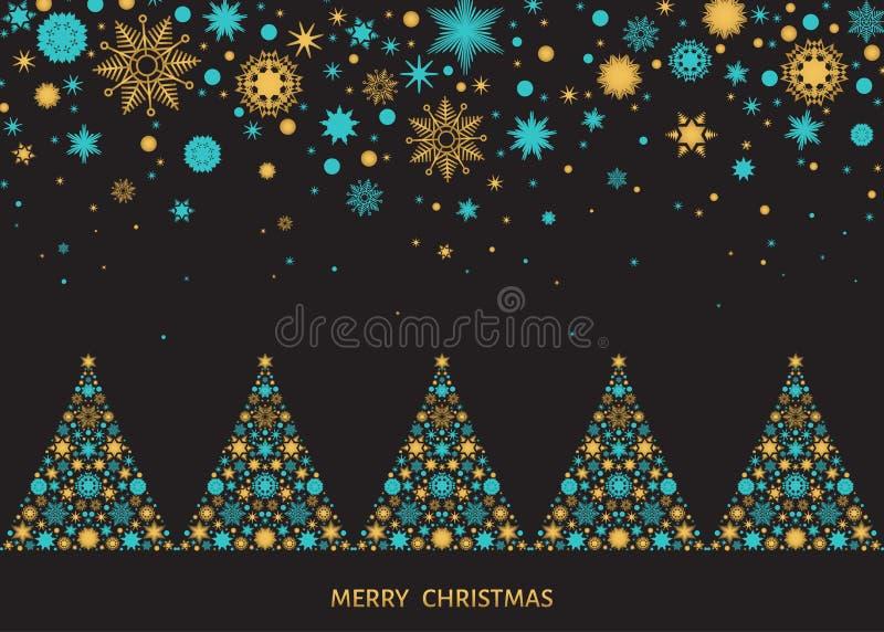与Xmas树和雪花的圣诞节风景 皇族释放例证