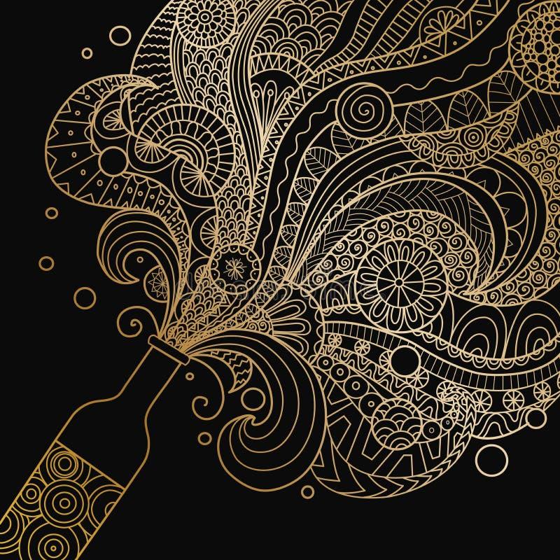 与zentangle艺术的金黄香槟瓶庆祝设计元素的 也corel凹道例证向量 皇族释放例证