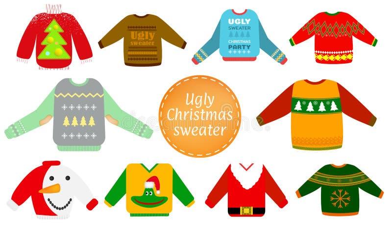 丑恶的圣诞节毛线衣传染媒介集合 图库摄影