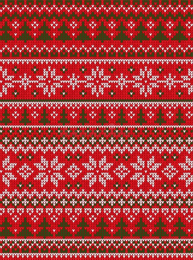 丑恶的毛线衣圣诞快乐和新年快乐贺卡框架边界 无缝传染媒介例证被编织的背景 向量例证