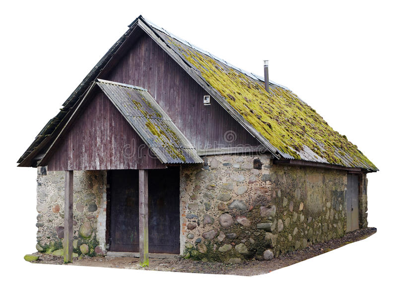 丑恶fi存贮的没有nsme木森林葡萄酒农村棚子  免版税库存照片