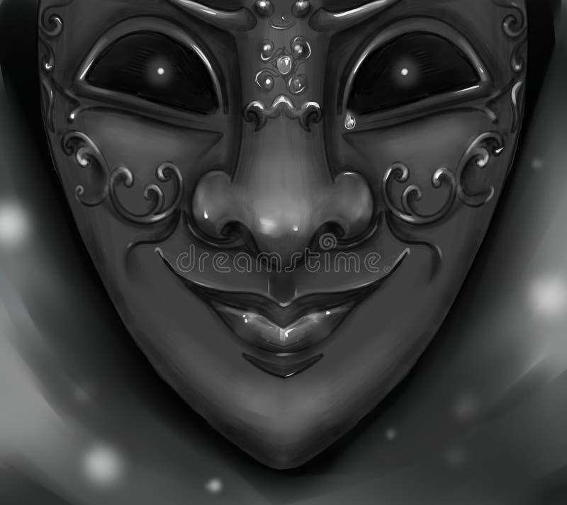 丑角与发光凶眼的狂欢节面具 库存例证