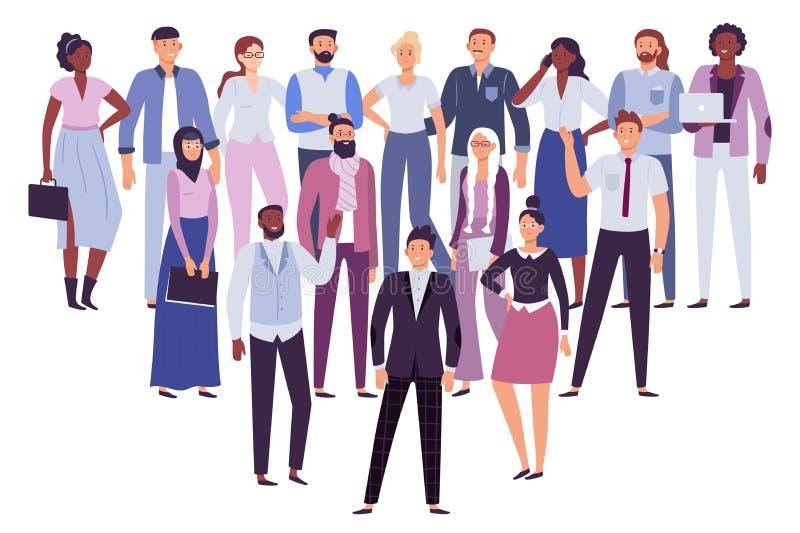专业人队 企业人小组、社会领导和办公室工作者拥挤传染媒介例证 库存例证