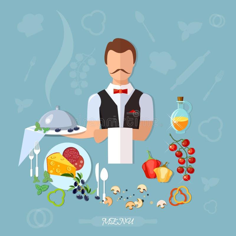 专业侍者餐馆菜单 向量例证