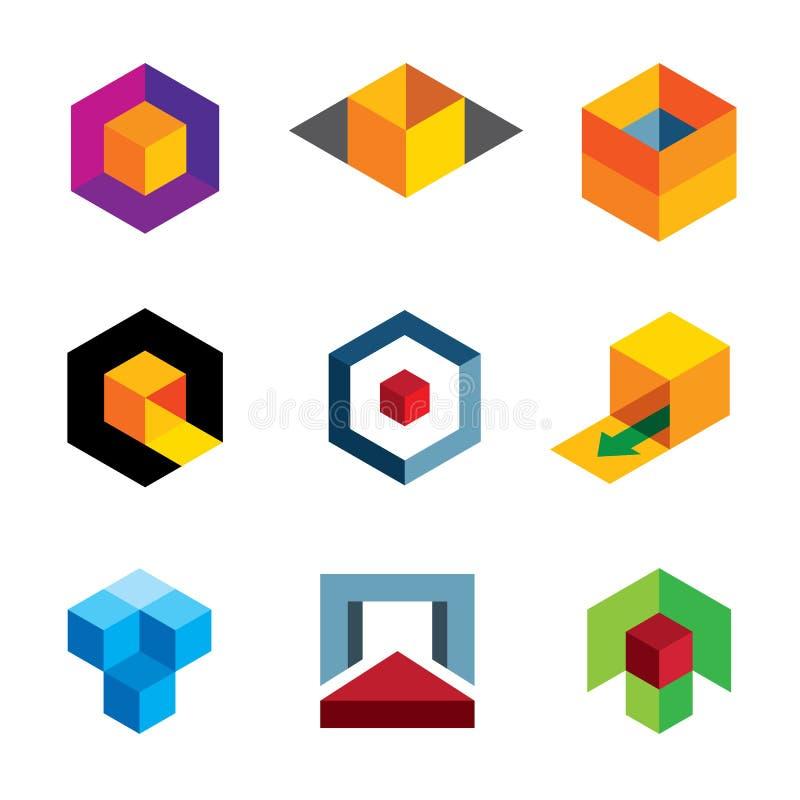 专业公司商标象的创造性的3d立方体身体 库存例证