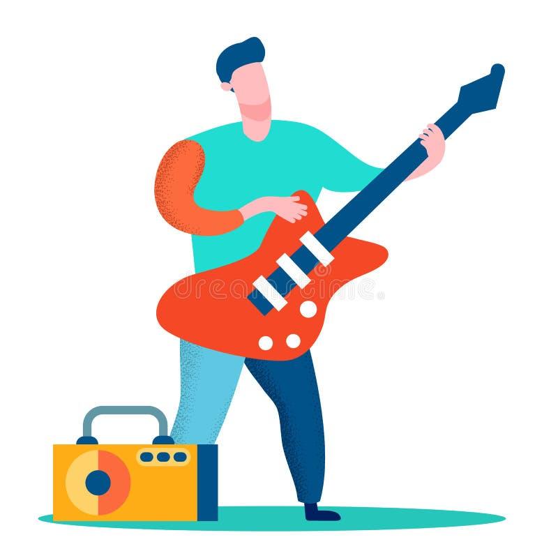 专业吉他演奏员平的彩色插图 库存例证