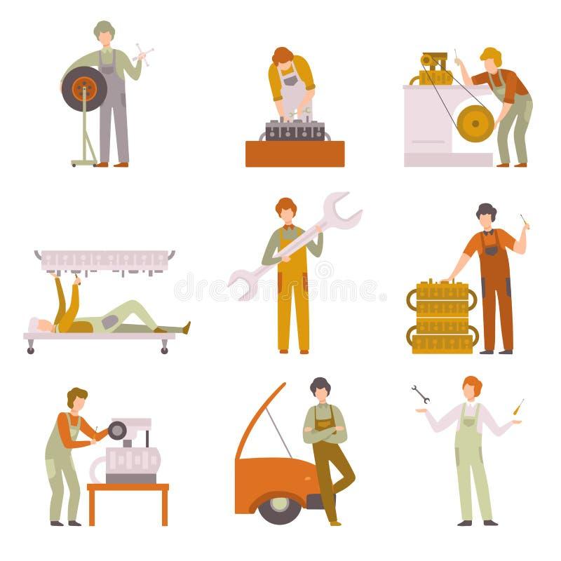 专业安装工工作在汽车修理服务集合的,在一致的修理的汽车的男性汽车机械师字符 向量例证