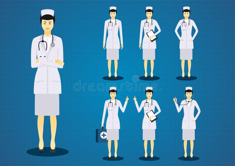 专业少妇护理所有行动字符设计集合 皇族释放例证