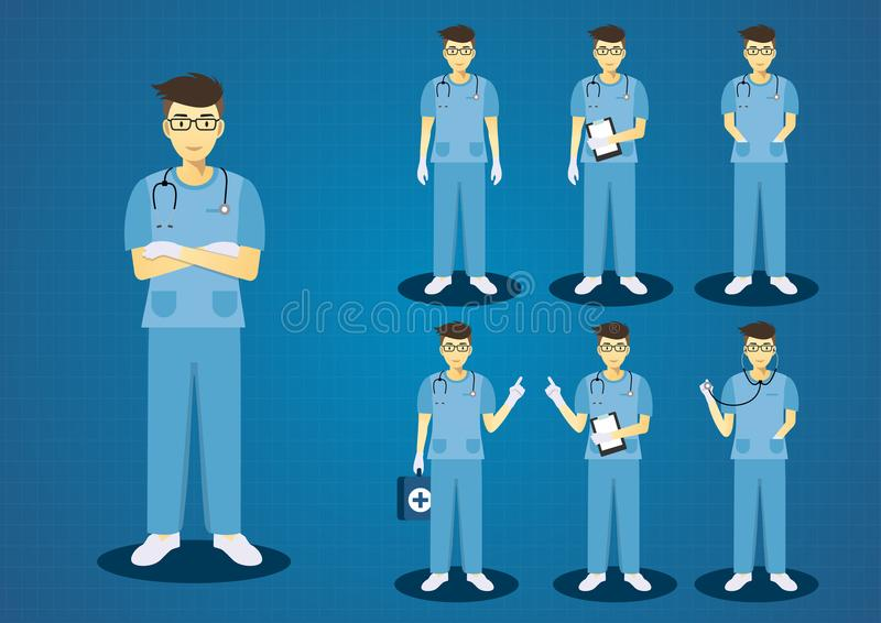 专业年轻医生蓝色洗刷制服 库存例证