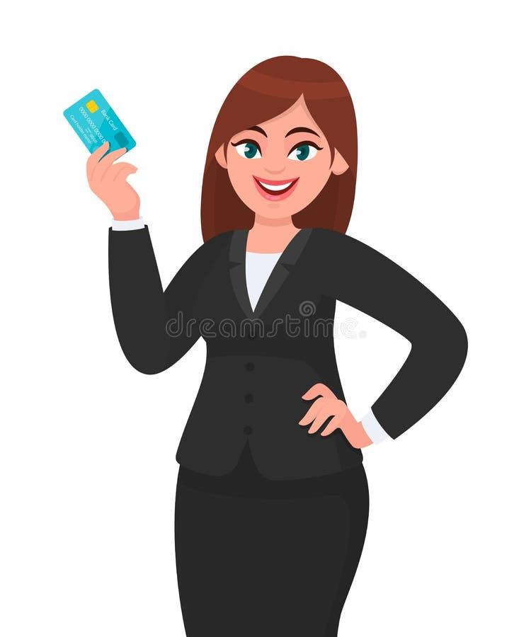 专业年轻女商人陈列或拿着信用/debit/ATM卡片 显示银行卡的女性执行委员 ?? 向量例证