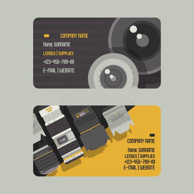 专业徒升照片透镜和供应照相机套的事务或名片传染媒介例证 摄影师 向量例证