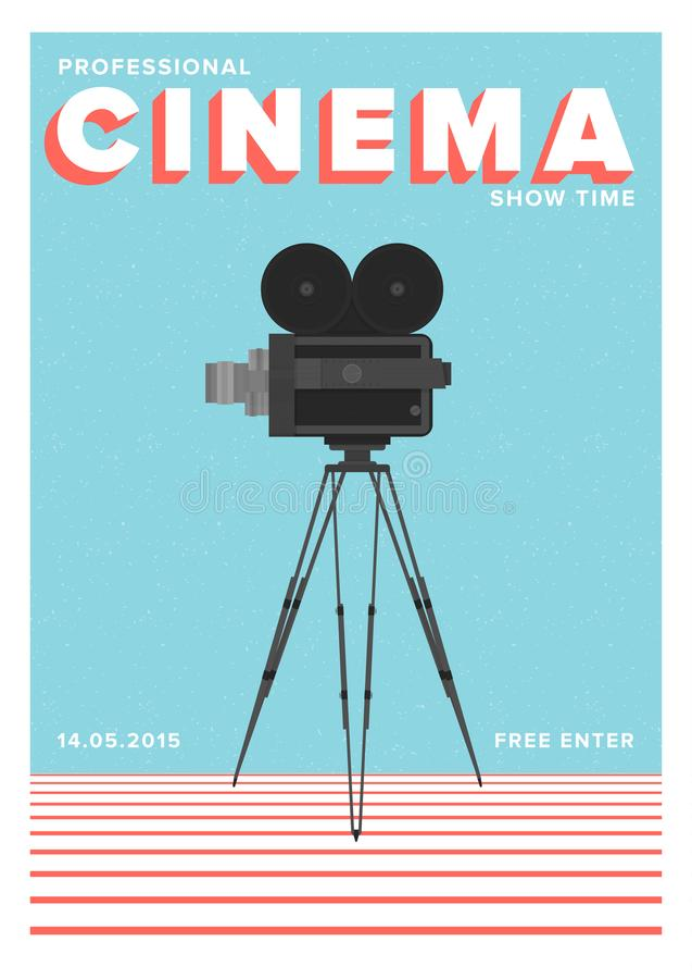 专业戏院展示时间的海报或飞行物模板或与站立在三脚架的影片照相机的电影首放 向量例证